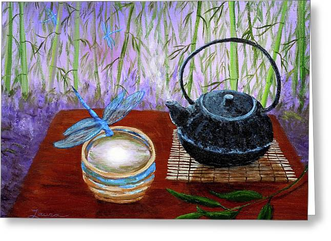 Teacup Greeting Cards - The Moon in a Teacup Greeting Card by Laura Iverson