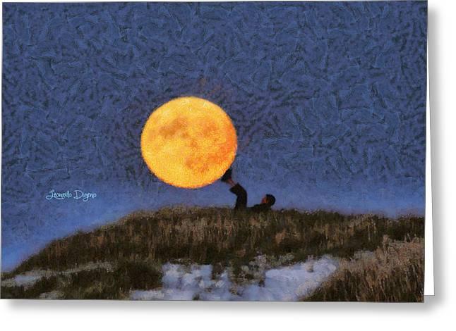 The Moon Keeper - 6 Of 7 Greeting Card by Leonardo Digenio