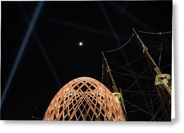 Greeting Card featuring the photograph The Moon Over The Egg by Mark Dodd