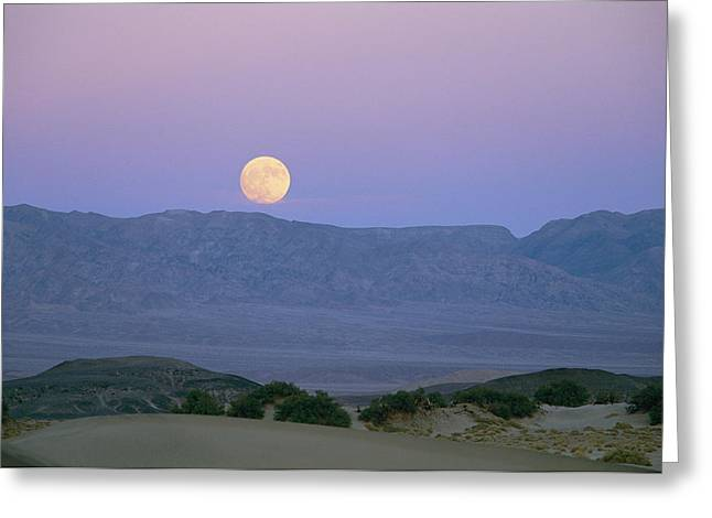 The Moon Rises Over The Amargosa Greeting Card