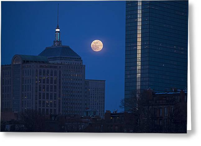 The Moon Rising Over Boston Greeting Card by Toby McGuire