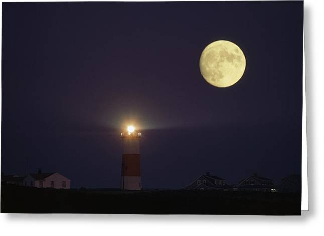 The Moon Shines Above The Sankaty Head Greeting Card by James L. Stanfield