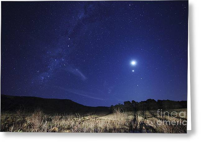 The Moon, Venus, Mars And Spica Greeting Card by Luis Argerich
