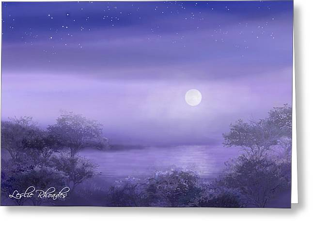 The Moon Will Set Greeting Card by Leslie Rhoades
