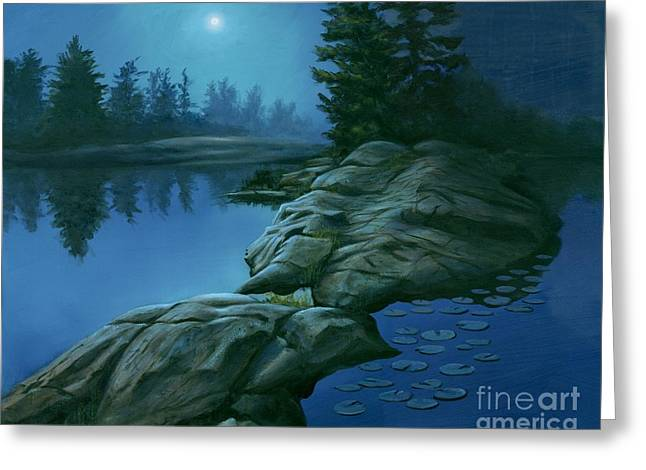 Greeting Card featuring the painting The Moonlight Hour by Michael Swanson