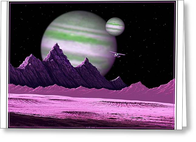 The Moons Of Meepzor Greeting Card by Scott Ross