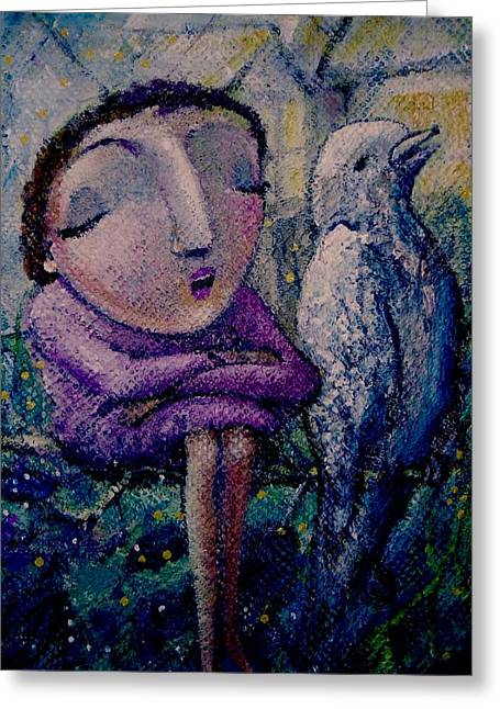 Greeting Card featuring the painting The Morning Song by Eleatta Diver