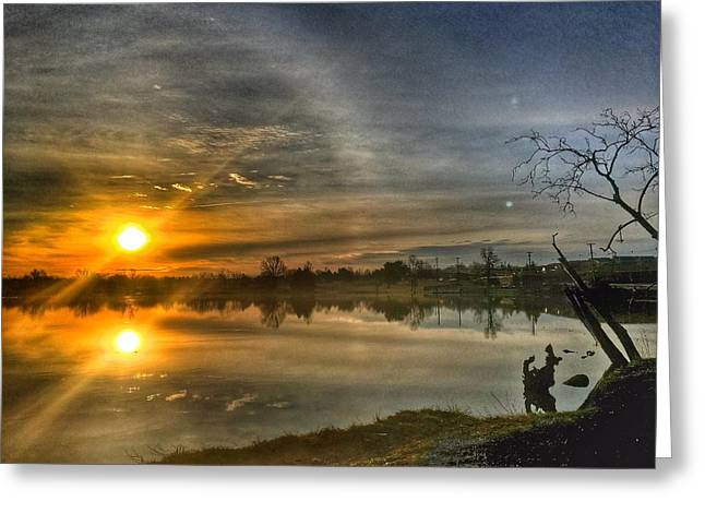 The Morning Sun Dog Greeting Card by Sumoflam Photography