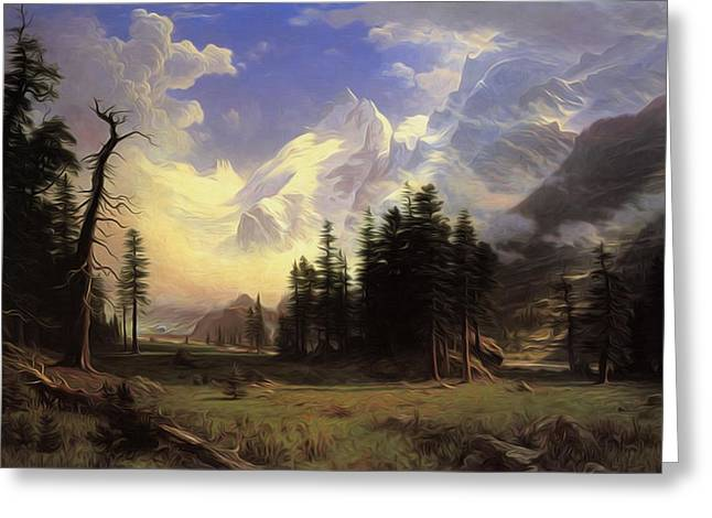 The Morteratsch Glacier Upper Engadine Valley Pontresina Greeting Card by Albert Bierstadt