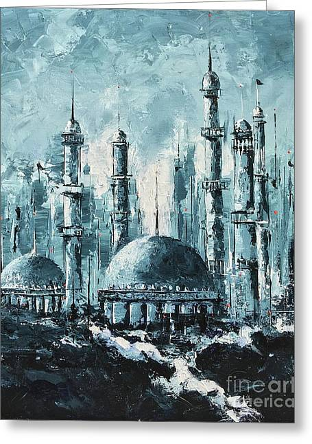 Greeting Card featuring the painting The Mosque-2 by Nizar MacNojia