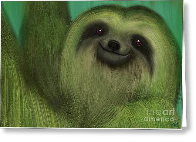 The Mossy Sloth Greeting Card by Nick Gustafson