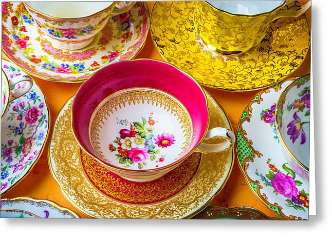 The Most Beautiful Tea Cups Greeting Card by Garry Gay
