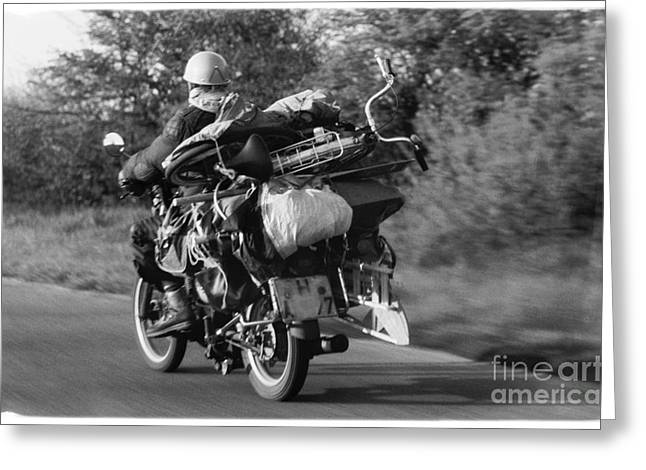 The Motorbike Carrier Greeting Card by Heiko Koehrer-Wagner