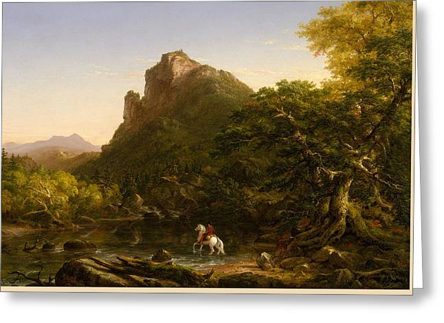 The Mountain Ford Greeting Card by Thomas Cole