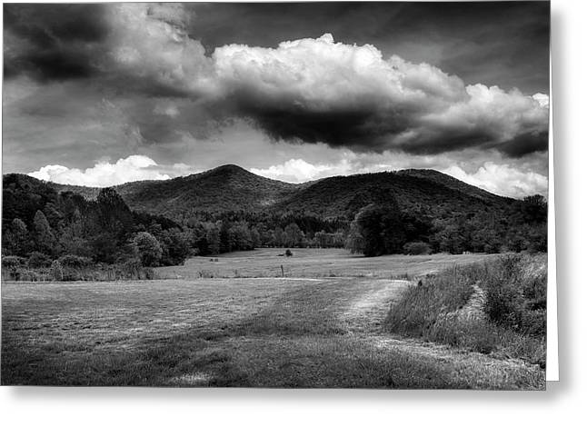 The Mountains Of Western North Carolina In Black And White Greeting Card by Greg Mimbs