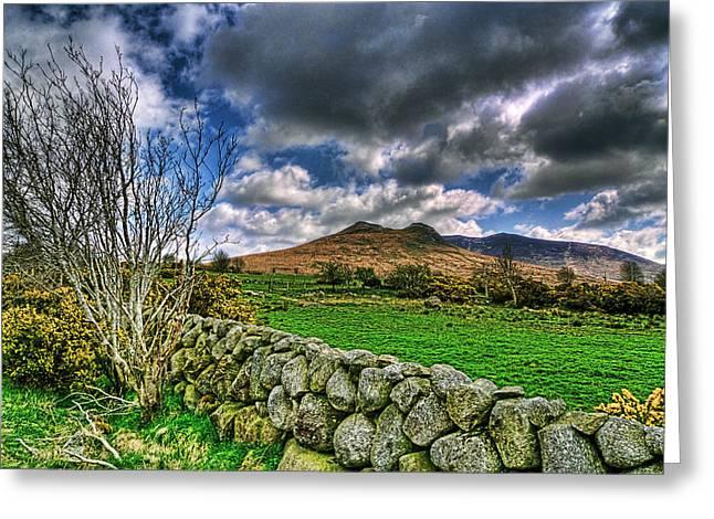 The Mournes Stone Walls Greeting Card by Kim Shatwell-Irishphotographer