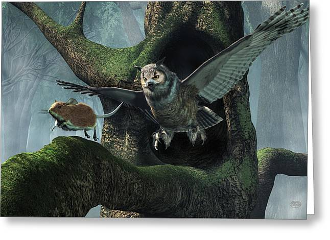 The Mouse And The The Owl Greeting Card by Daniel Eskridge