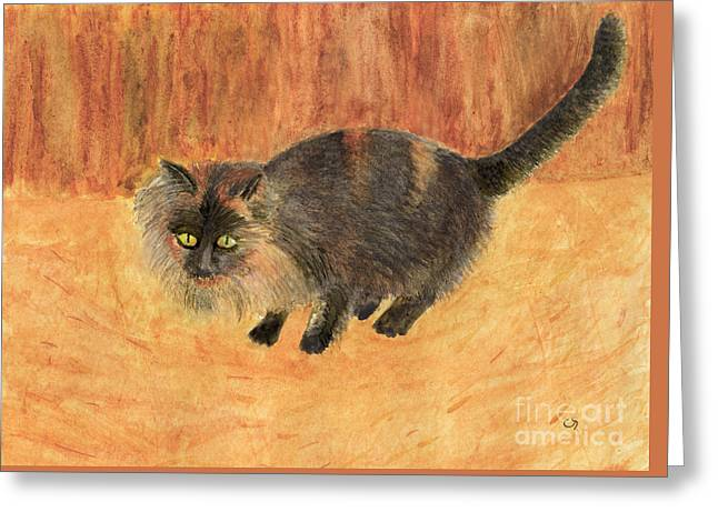 The Mouser, Barn Cat Watercolor Greeting Card
