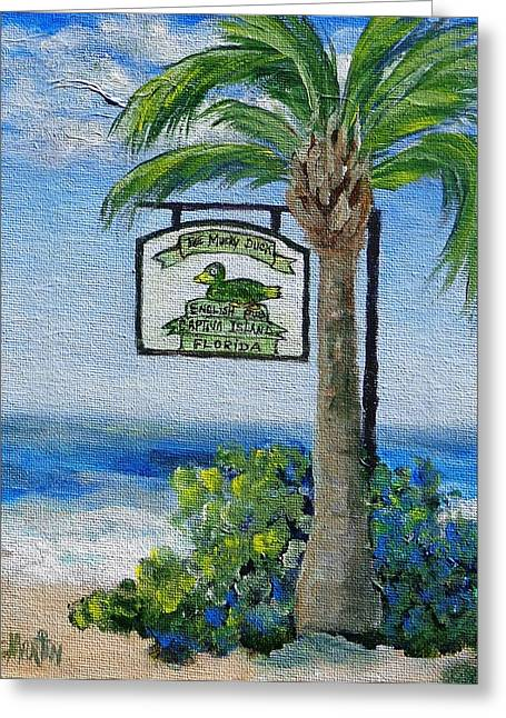The Mucky Duck Captiva Island Florida Greeting Card by Annie St Martin