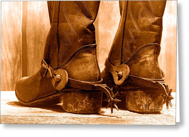 The Muddy Boots - Sepia Greeting Card by Olivier Le Queinec