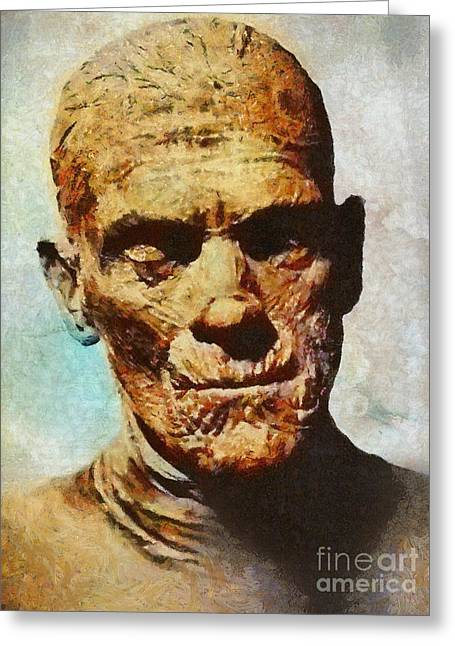 The Mummy, Vintage Horror Greeting Card by Mary Bassett