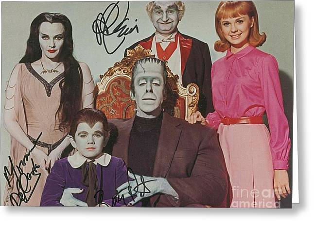 The Munsters Cast Autographed Poster  Greeting Card