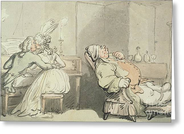 The Music Master Greeting Card by Thomas Rowlandson