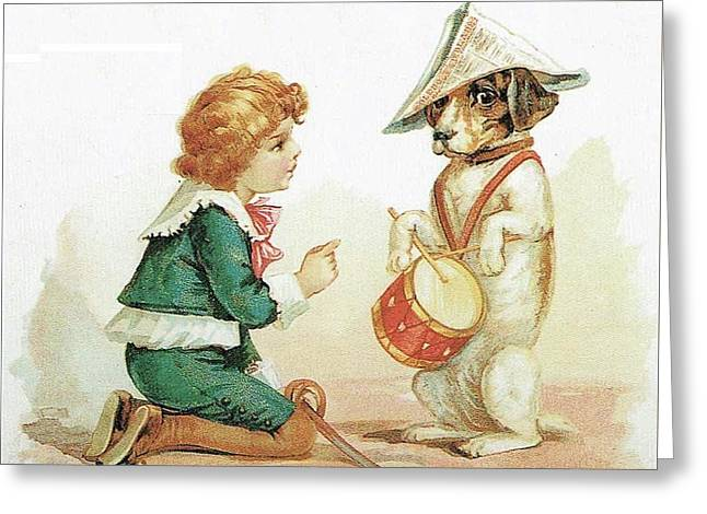 The Musical Pooch Greeting Card by Reynold Jay