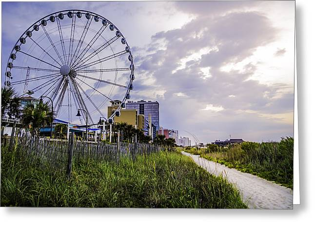 The Myrtle Beach, South Carolina Skywheel At Sunrise. Greeting Card