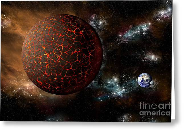 The Mythical Planet Nibiru Or Planet X Greeting Card by Marc Ward