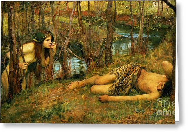 The Naiad Greeting Card by John William Waterhouse