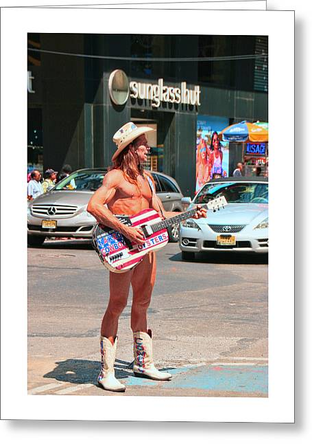The Naked Cowboy Full Frontal Greeting Card by Allen Beatty