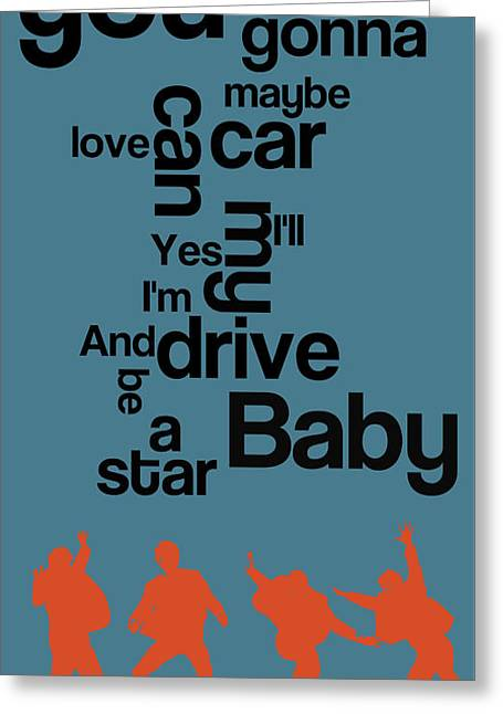 The Name Of The Song. Beatles Lyrics. Drive My Car. Greeting Card by Pablo Franchi