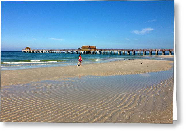 The Naples Pier At Low Tide Greeting Card by Robb Stan