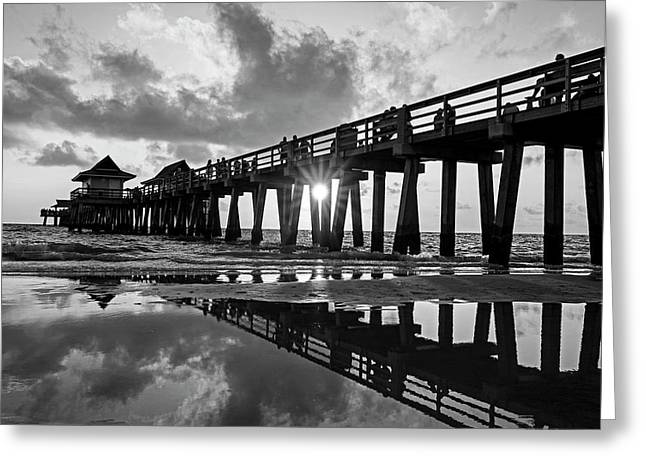 Naples Pier At Sunset Naples Florida Black And White Greeting Card