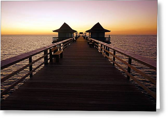 The Naples Pier At Twilight - 01 Greeting Card by Robb Stan
