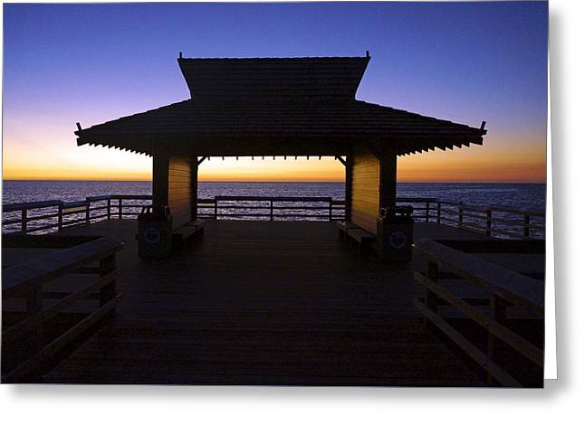 The Naples Pier At Twilight - 02 Greeting Card by Robb Stan