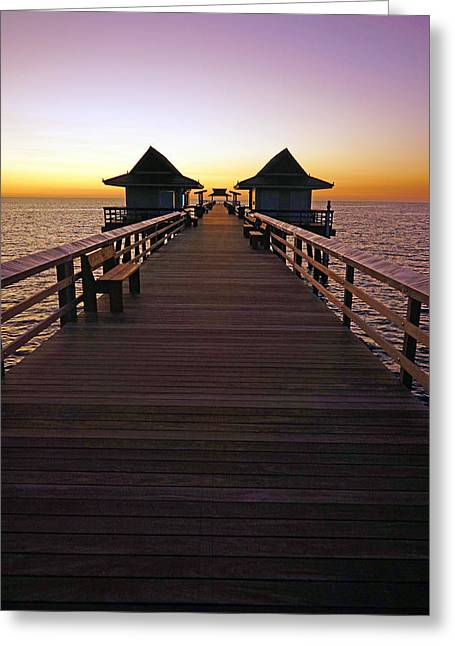 The Naples Pier At Twilight Greeting Card by Robb Stan
