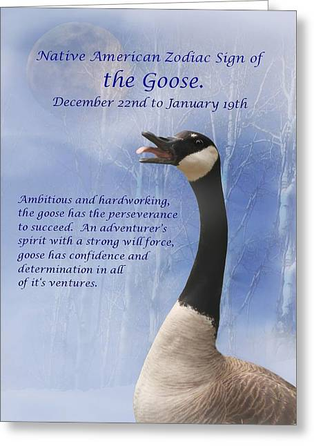 The Native American Zodiac Sign Of The Goose Greeting Card by Stephanie Laird