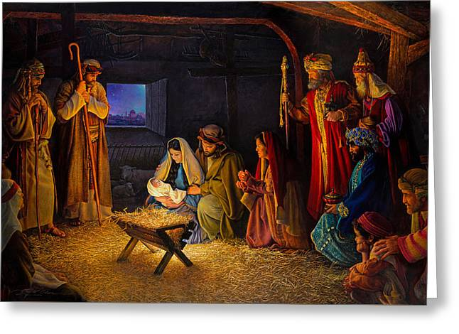Greeting Card featuring the painting The Nativity by Greg Olsen