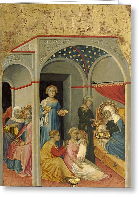 The Nativity Of The Virgin Greeting Card by Andrea Di Bartolo