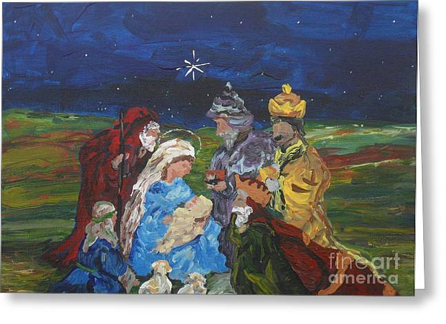 Babies Greeting Cards - The Nativity Greeting Card by Reina Resto