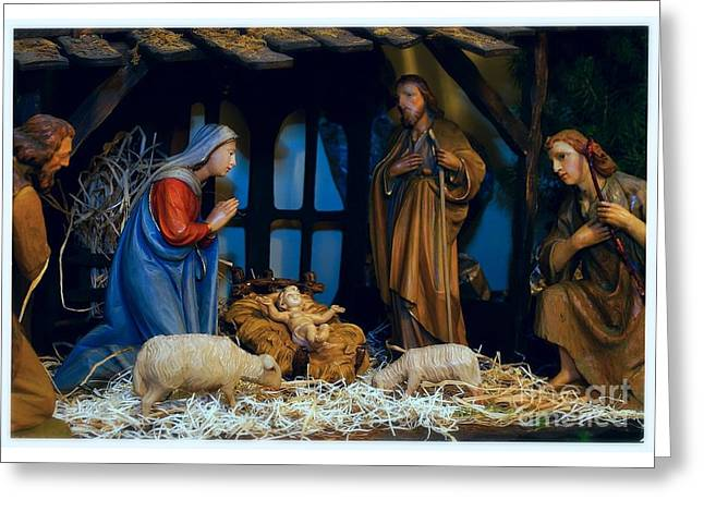 The Nativity Scene - Border Greeting Card by Frank J Casella