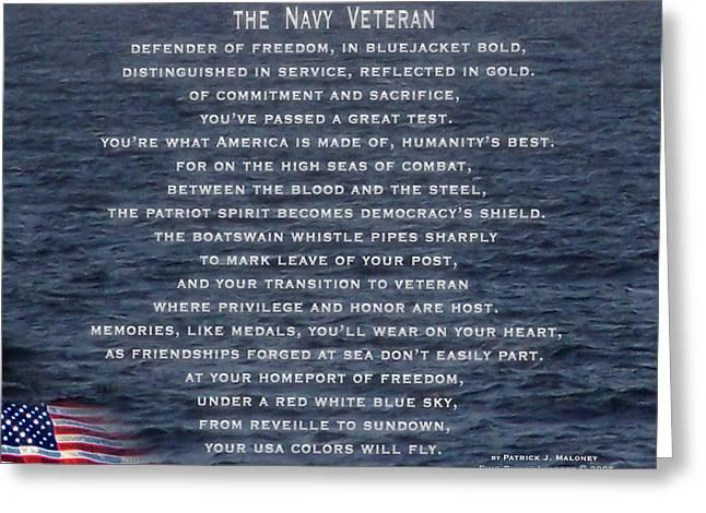The Navy Veteran Greeting Card by Patrick J Maloney