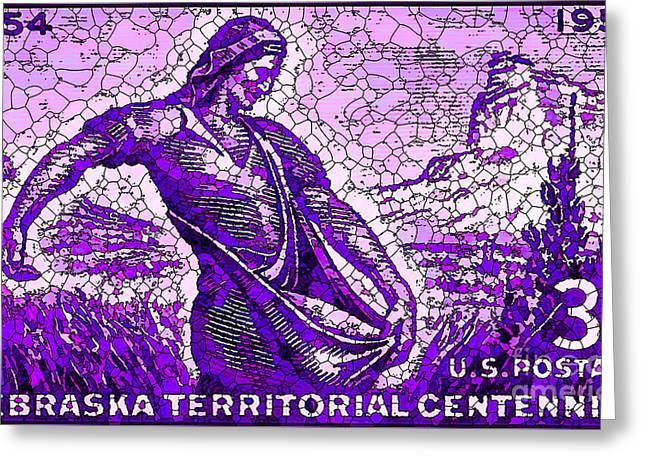 The Nebraska Territory Stamp Greeting Card by Lanjee Chee
