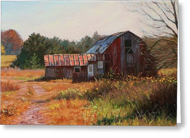 The Neighbor's Barn Greeting Card by Bonnie Mason