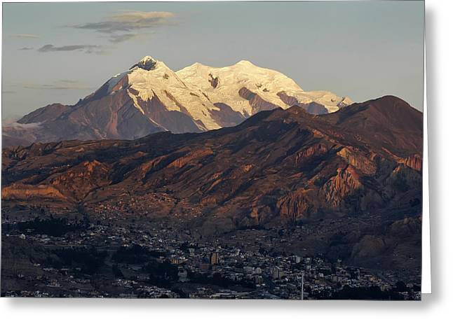 The Nevado Illimani And The South City Of La Paz. Republic Of Bolivia. Greeting Card by Eric Bauer