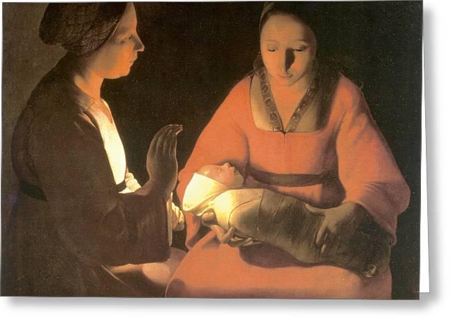 The New Born Child, C. 1645 Greeting Card by George De La Tour