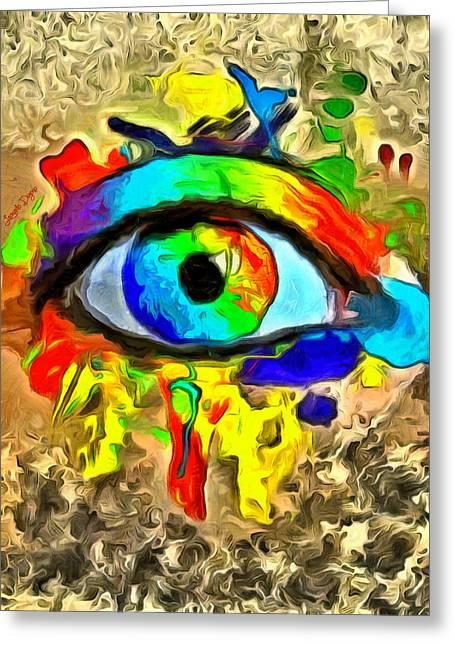 The New Eye Of Horus 2 - Da Greeting Card by Leonardo Digenio