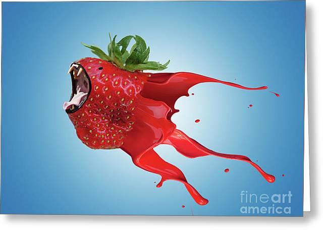 The New Gmo Strawberry Greeting Card by Juli Scalzi